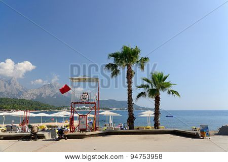 Kemer, Turkey, June 10, 2015. Beach resort near Kemer, Turkey