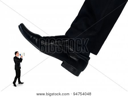 Isolated feet man crushing little business man