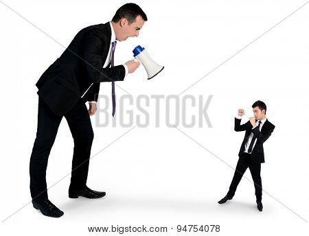 Isolated business man screaming on megaphone