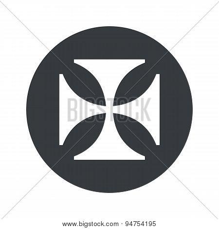 Monochrome round maltese cross icon
