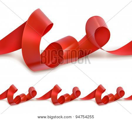 Red festive ribbon seamless vector