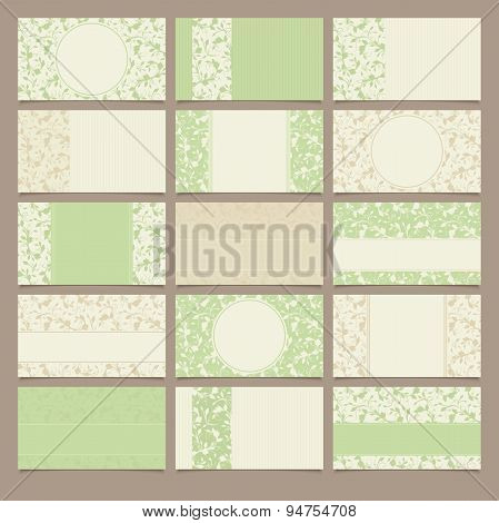 Set of green and beige business cards with floral patterns. Vector illustration.