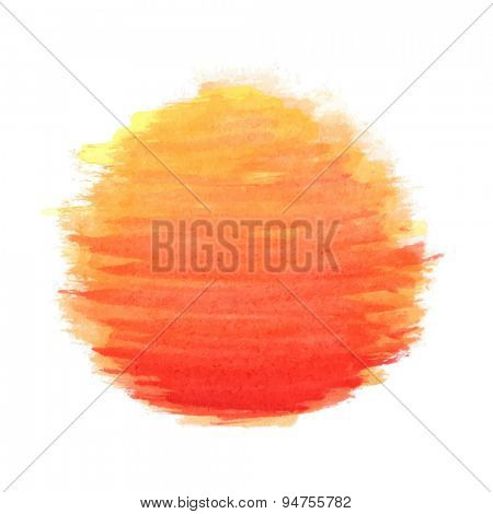 watercolor sun, vector illustration, isolated on white background