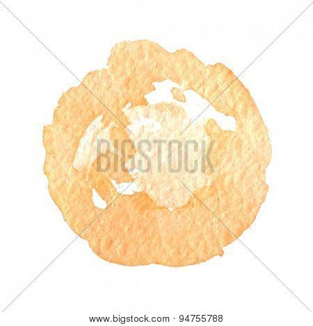 Orange watercolor paint vector circle, illustration