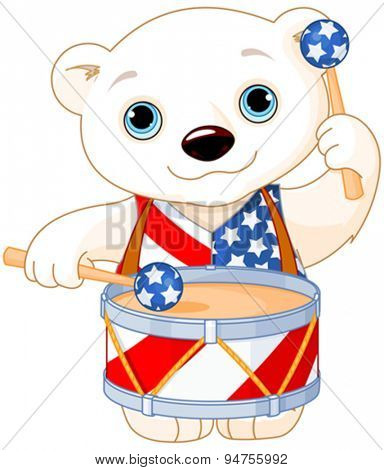 Illustration of Polar Bear celebrating 4th of July