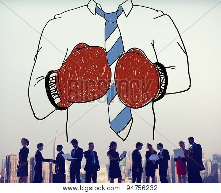 Businessman Boxing Competition Fighting Sport Agressive Concept