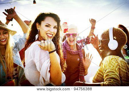 Diversity Dancing Beach Party Celebration Concept
