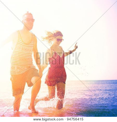 Sweet Beach Summer Holiday Couple Love Concept