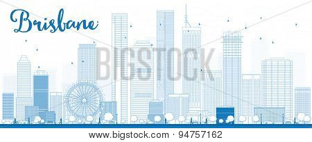 Outline Brisbane skyline with blue building. Vector illustration