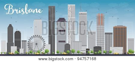 Brisbane skyline with grey building and blue sky. Vector illustration