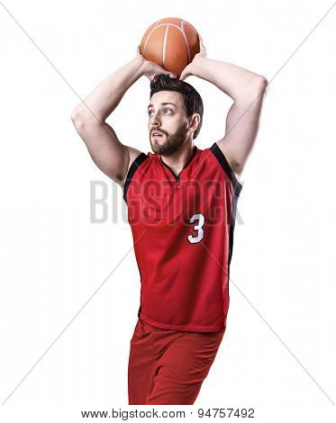 Basketball Player on a red uniform isolated on white background