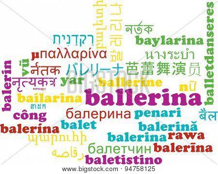 Background concept wordcloud multilanguage international many language illustration of ballerina