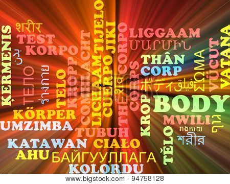 Background concept wordcloud multilanguage international many language illustration of body glowing light