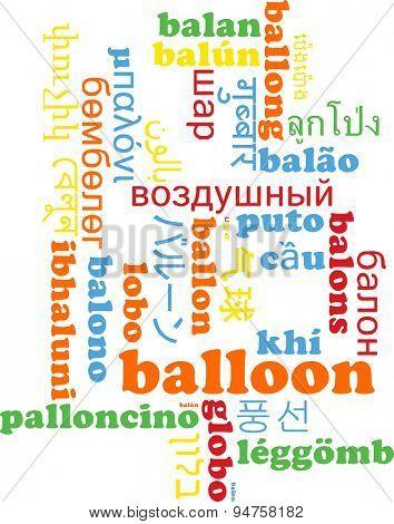 Background concept wordcloud multilanguage international many language illustration of balloon
