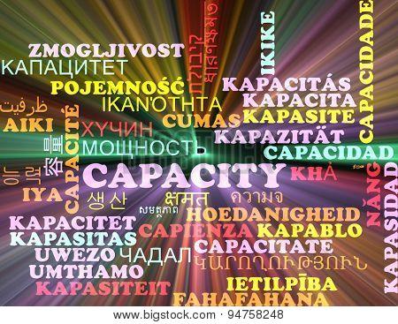 Background concept wordcloud multilanguage international many language illustration of capacity glowing light