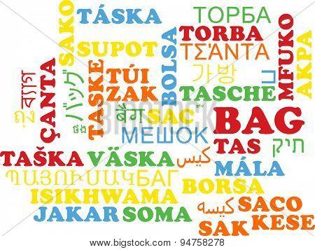 Background concept wordcloud multilanguage international many language illustration of bag