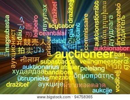 Background concept wordcloud multilanguage international many language illustration of auctioneer glowing light