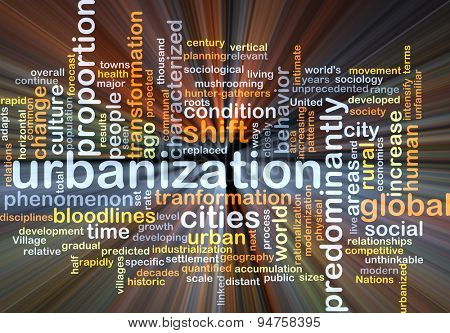 Background concept wordcloud illustration of urbanization glowing light