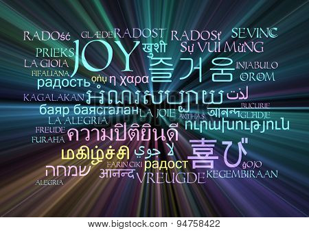 Background concept wordcloud multilanguage international many language illustration of joy emotion glowing light