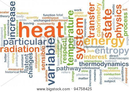 Background concept wordcloud illustration of heat