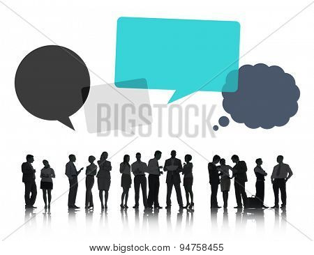 Silhouette of Business People Discussing with Speech Bubbles