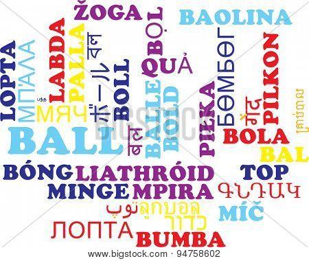 Background concept wordcloud multilanguage international many language illustration of ball