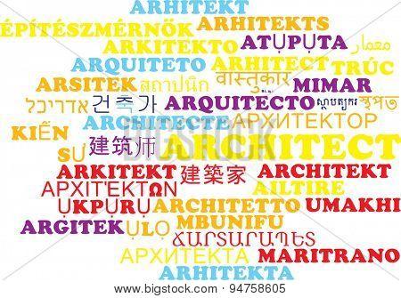 Background concept wordcloud multilanguage international many language illustration of architect