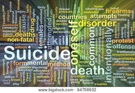 Background concept wordcloud illustration of suicide glowing light