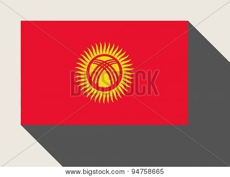 Kyrgyzstan flag in flat web design style.