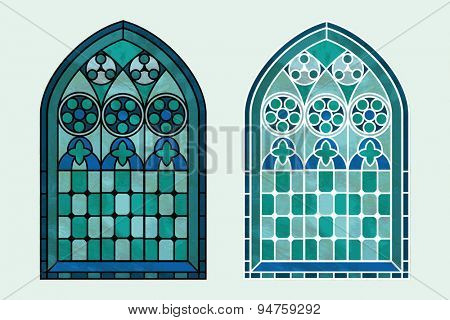 A Gothic Style stained glass window in cool tones of blue, green and turquoise. Two options with black or white outline.
