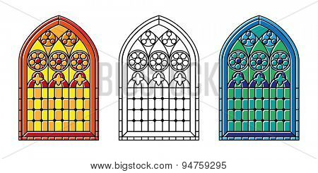 A set of Gothic Style stained glass window in cool tones, warm tones and black and white outline.
