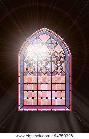 A Gothic Style stained glass window with sunlight shining through.