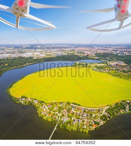 Aerial view from drone to lake in suburban district of Pilsen, Czech Republic, Europe.