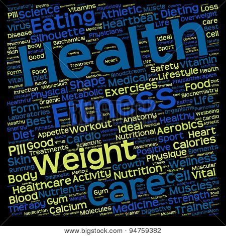 Concept or conceptual health, diet or sport text word cloud tagcloud isolated on black background