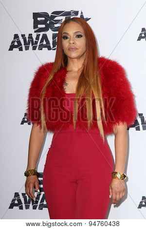 LOS ANGELES - JUN 28:  Faith Evans at the 2015 BET Awards - Press Room at the Microsoft Theater on June 28, 2015 in Los Angeles, CA