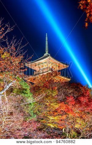 Kyoto, Japan at the pagoda of Kiyomizu-dera Shrine at night.