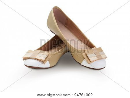 Brown ballet shoes on white -Clipping path