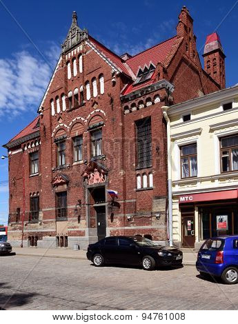 VYBORG, LENINGRAD OBLAST, RUSSIA - JUNE 6, 2015: Old building of Suomen Pankki on the Lenin avenue. Built in 1910 by design of Carl Gustaf Nystrom, now it houses the municipality