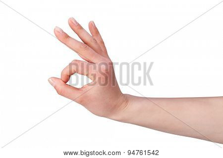 Close-up of Woman hand  isolated on white background