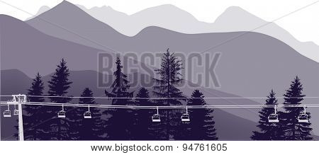 illustration with lilac mountains landscape