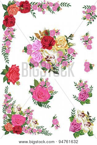 illustration with rose flower decorated elements isolated on white background