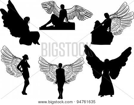 illustration with six angel silhouettes isolated on white background