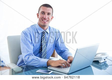 Smiling businessman using his laptop in an office