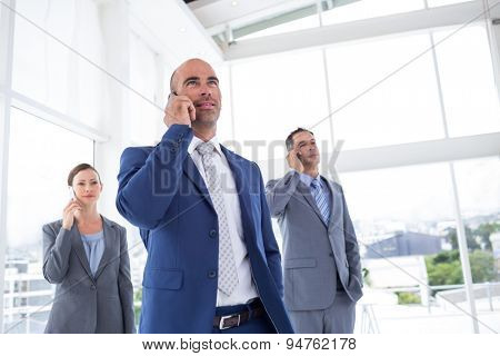 Business colleagues using phones at the office