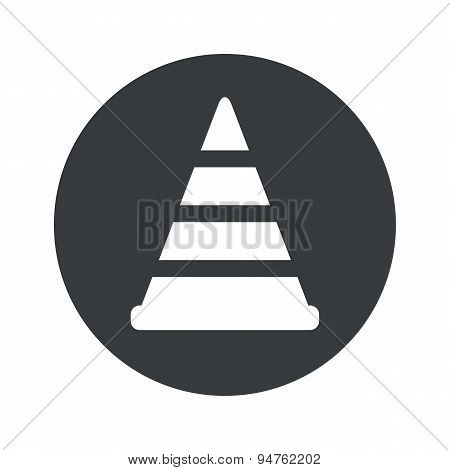 Monochrome round traffic cone icon