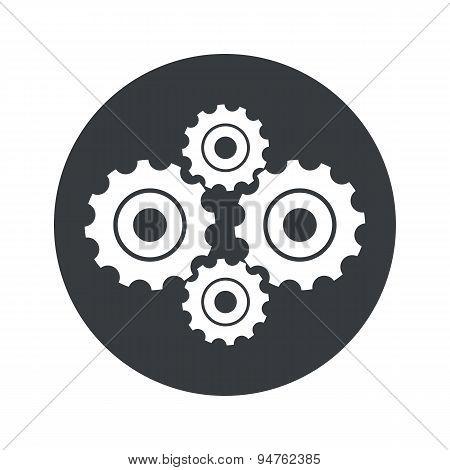Monochrome round cogs icon