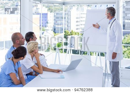 Team of doctor during meeting in medical office
