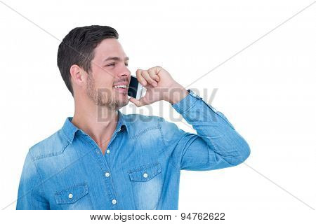 Smiling hipster having a phone call on white background