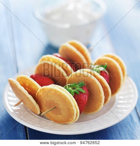 pancake and strawberry skewer kabobs with yogurt dip