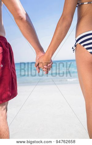 Rear view of couple holding hands at the beach on a sunny day